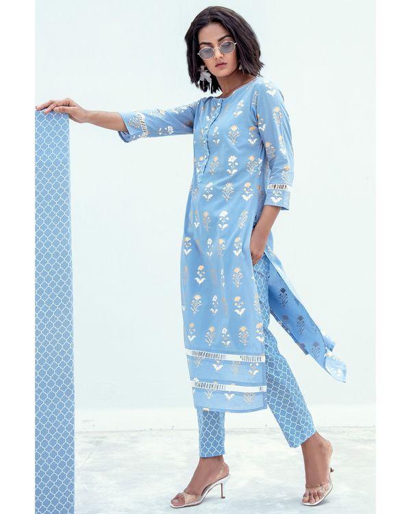 Blue and gold printed lace kurta 2