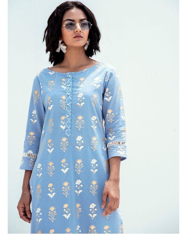 Blue and gold printed lace kurta 1