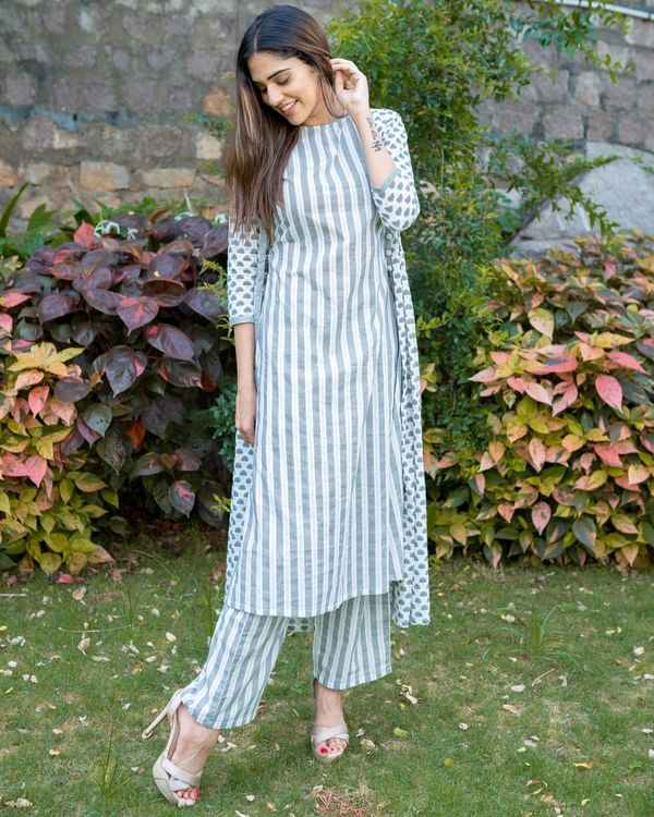 Grey and white boota jacket and striped kurta with palazzo - Set Of Three 3