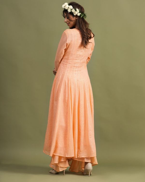 Peach striped slit kurta and palazzo - Set Of Two 3