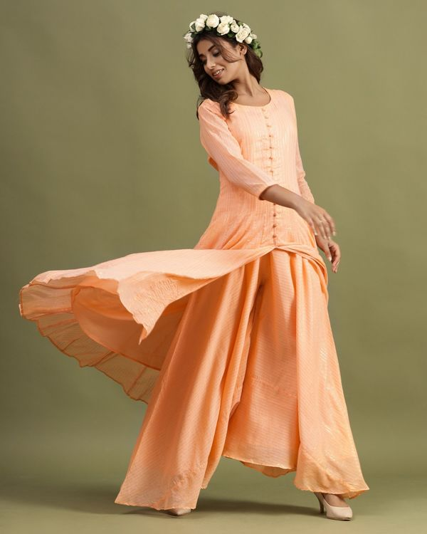 Peach striped slit kurta and palazzo - Set Of Two 2