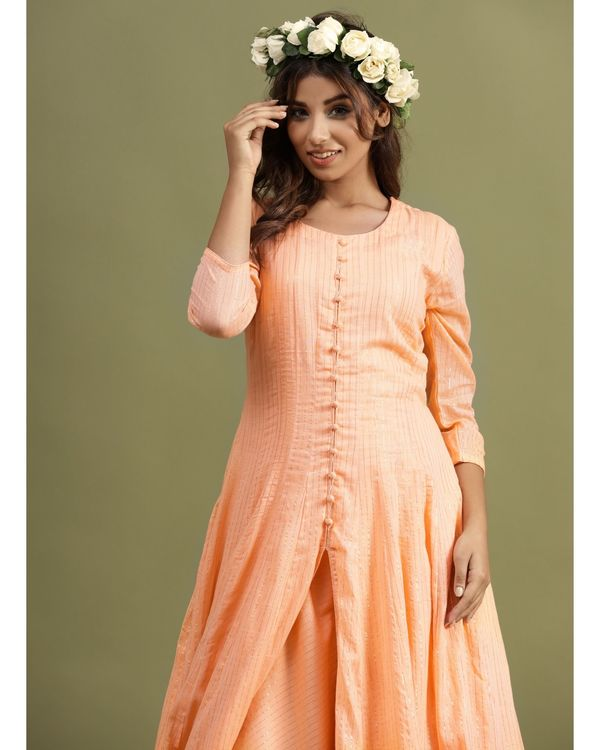 Peach striped slit kurta and palazzo - Set Of Two 1