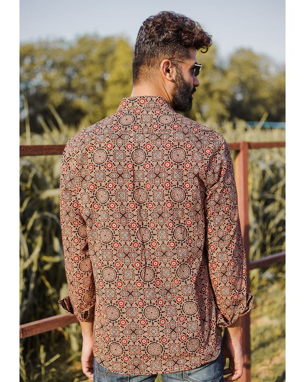 Brown and red ajrakh printed shirt 3