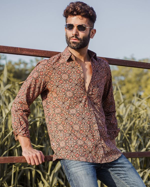 Brown and red ajrakh printed shirt 2