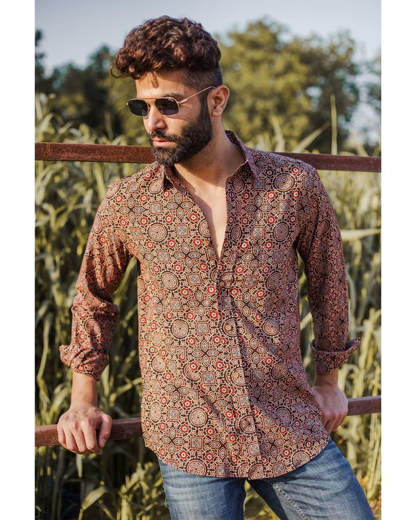 Brown and red ajrakh printed shirt 1