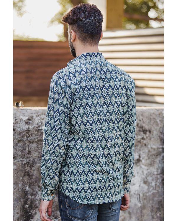 Blue diamond ajrakh printed shirt 3