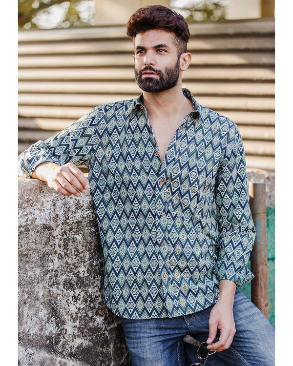 Blue diamond ajrakh printed shirt 1