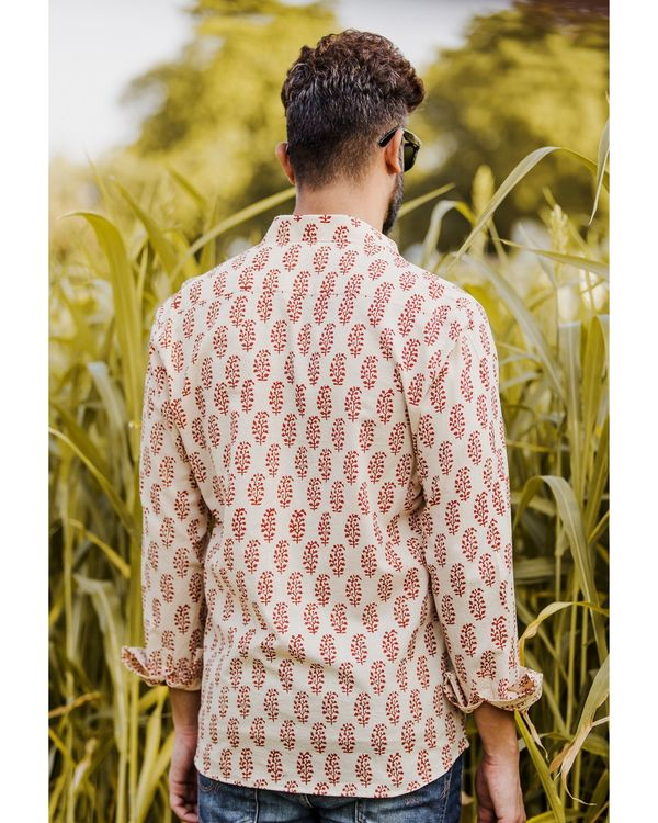 Red and off white bagh printed shirt 3