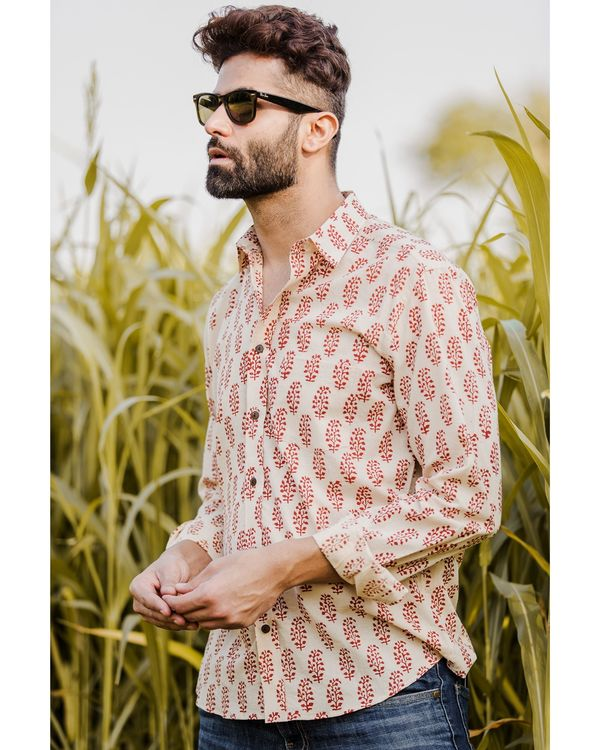 Red and off white bagh printed shirt 2