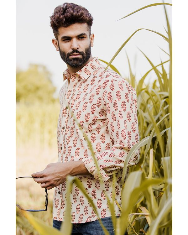 Red and off white bagh printed shirt 1