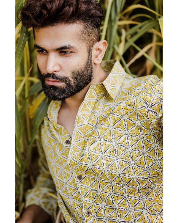 Mustard yellow honeycomb printed shirt 2