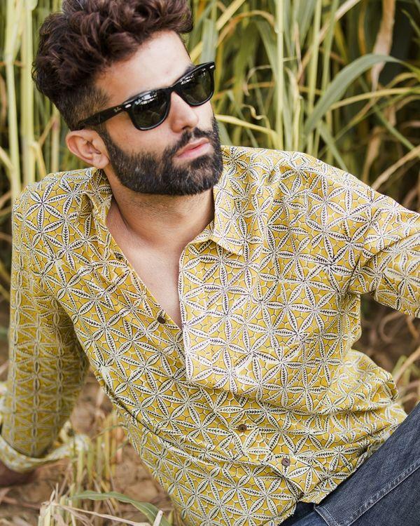 Mustard yellow honeycomb printed shirt 1