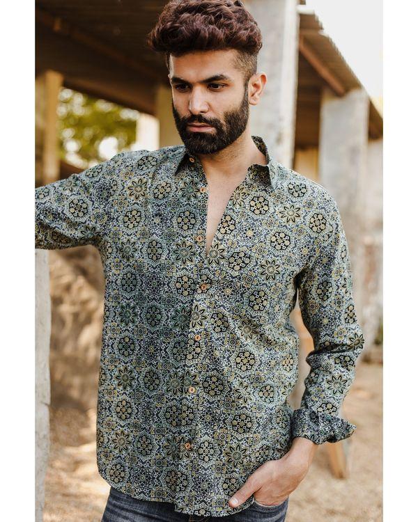 Teal green ajrakh printed shirt 1