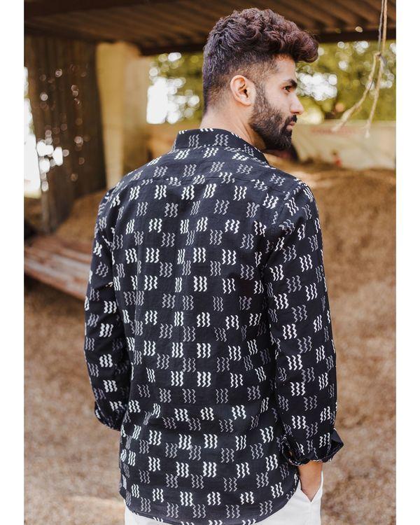 Black zig zag hand block printed shirt 2