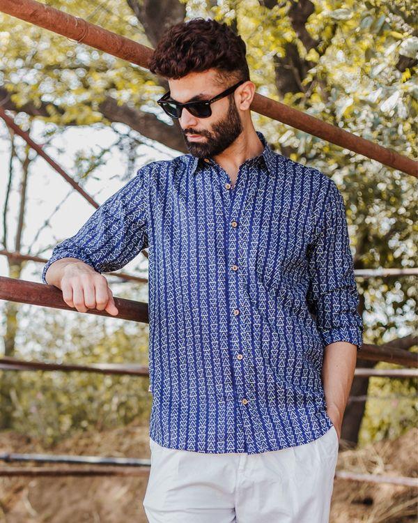 Indigo trigon hand block printed shirt 2