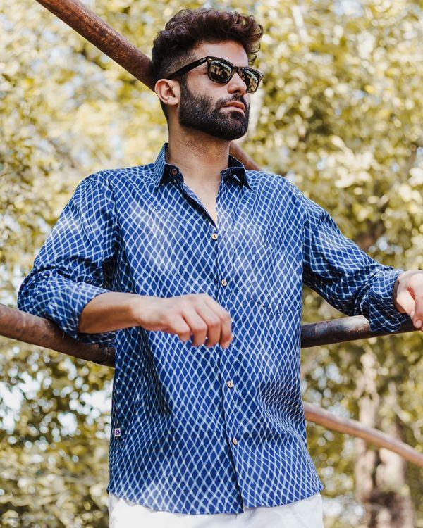 Indigo checkered hand block printed shirt 3