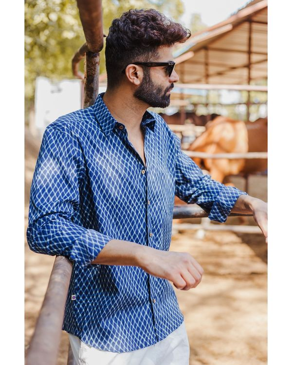 Indigo checkered hand block printed shirt 2