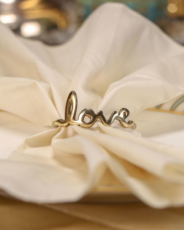 Vintage love and yum napkin rings - Set Of Four 1