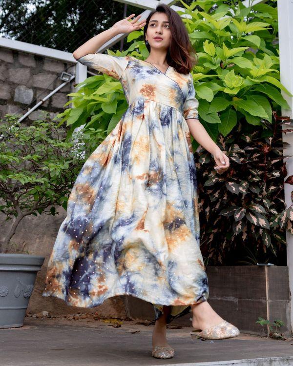 Shibori printed dress with gold polka detailing 2
