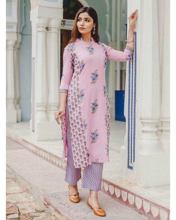 Blush pink mughal butta hand block printed kurta and palazzo set - set of two 3
