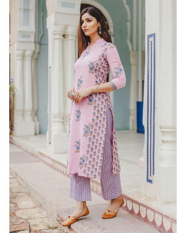 Blush pink mughal butta hand block printed kurta and palazzo set - set of two 2