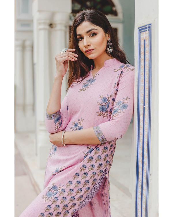 Blush pink mughal butta hand block printed kurta and palazzo set - set of two 1