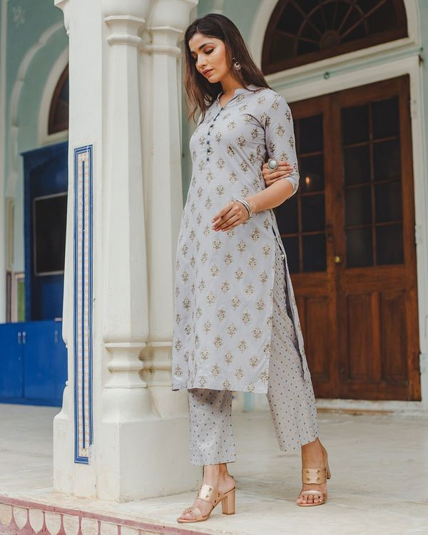 Grey floral buti printed kurta and palazzo set - set of two 3