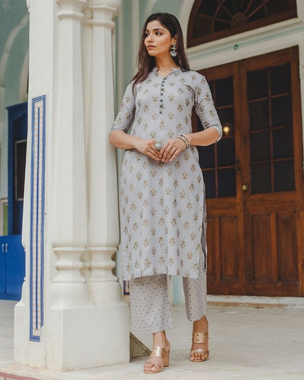 Grey floral buti printed kurta and palazzo set - set of two 2