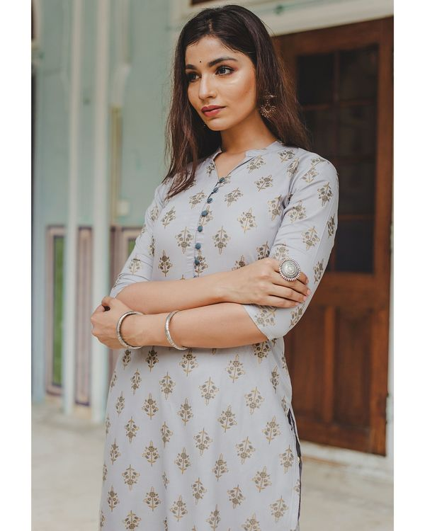 Grey floral buti printed kurta and palazzo set - set of two 1