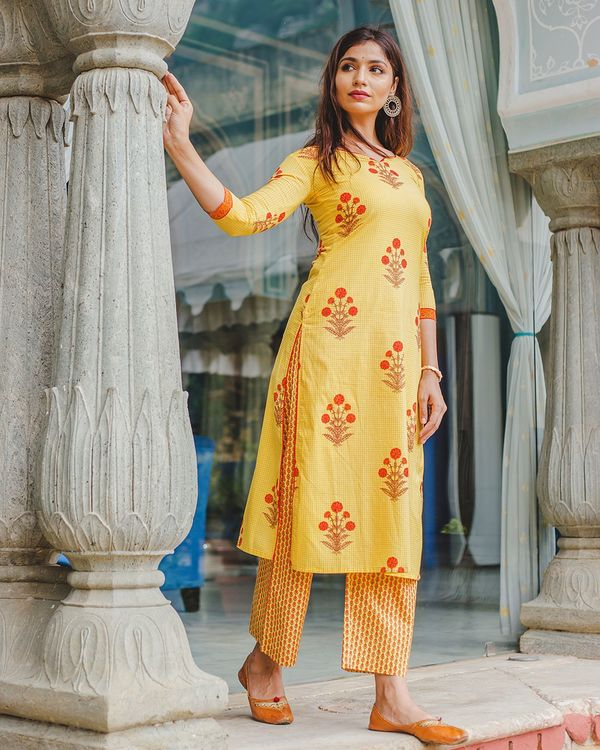 Bumble bee yellow mughal hand block printed kurta and palazzo - set of two 2