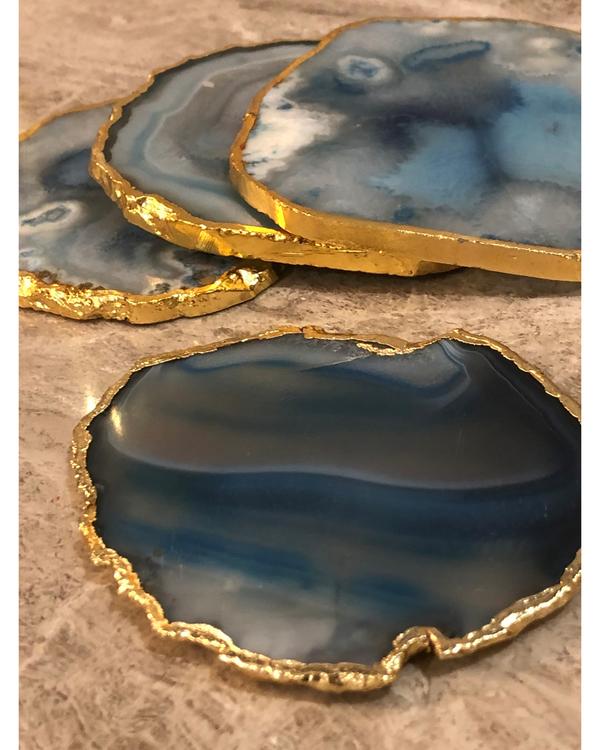 Aqua Agate Coasters - Set Of Four 2