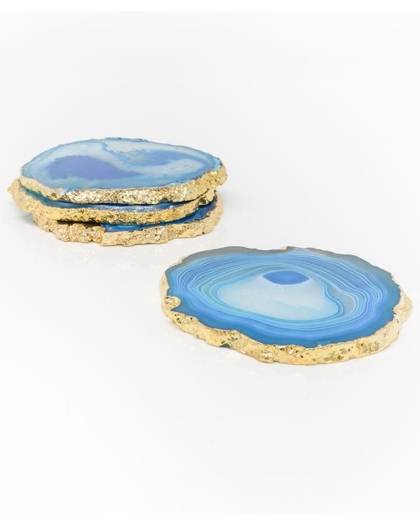 Aqua Agate Coasters - Set Of Four 1