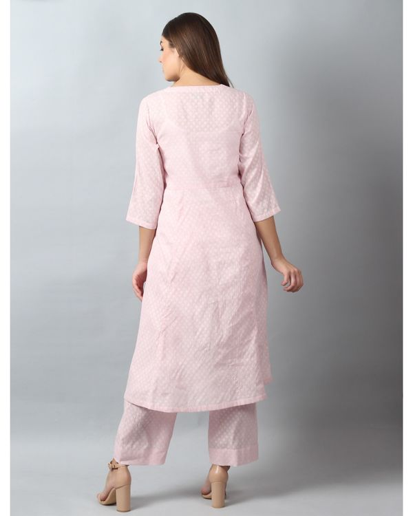 Pink floral embroidered yoke kurta and pants - Set Of Two 3