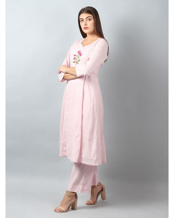 Pink floral embroidered yoke kurta and pants - Set Of Two 2