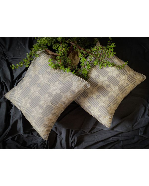 Light grey and white embroidered cushion cover 1