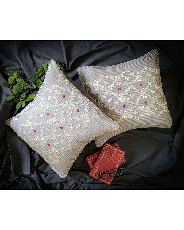Light grey and white ivy embroidered cushion cover 1