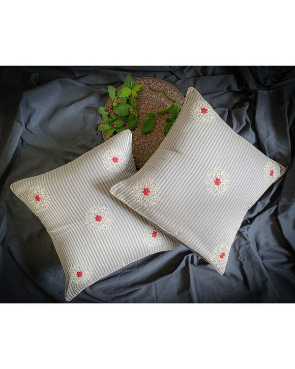 Light grey and white daisy embroidered cushion cover 1