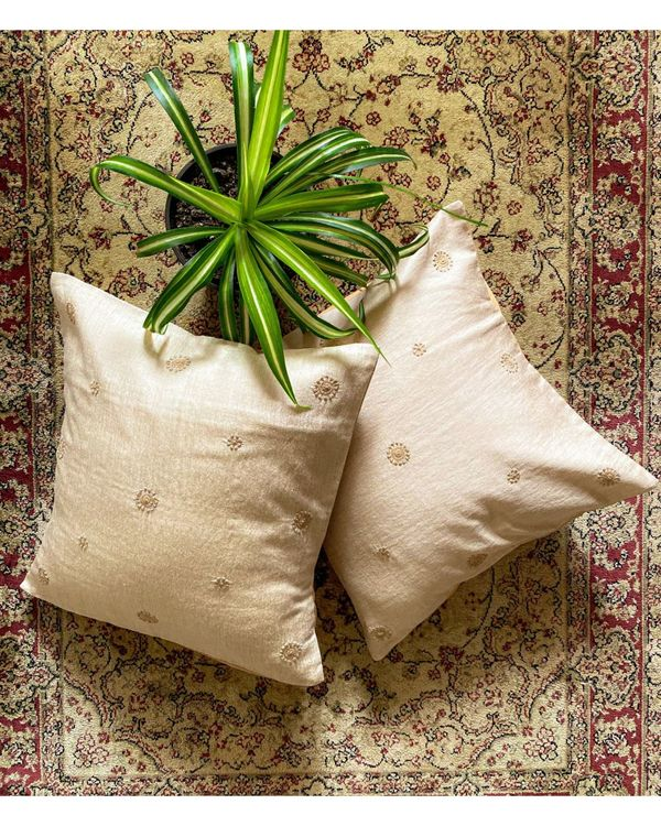 Beige marigold hand embroidered cushion cover 1