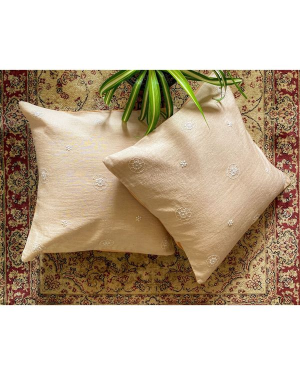 Beige poppy hand embroidered cushion cover 1