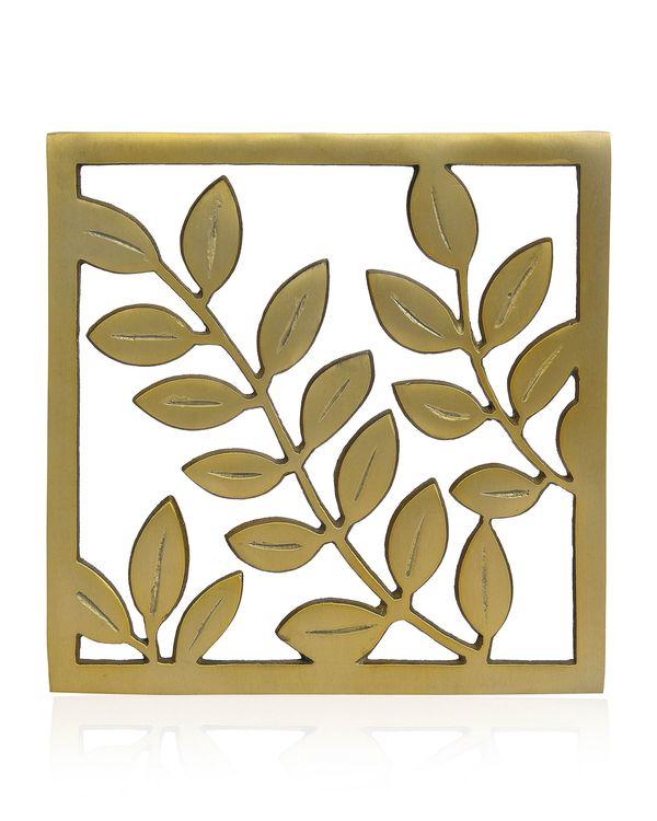 Leaf motif square trivet 1