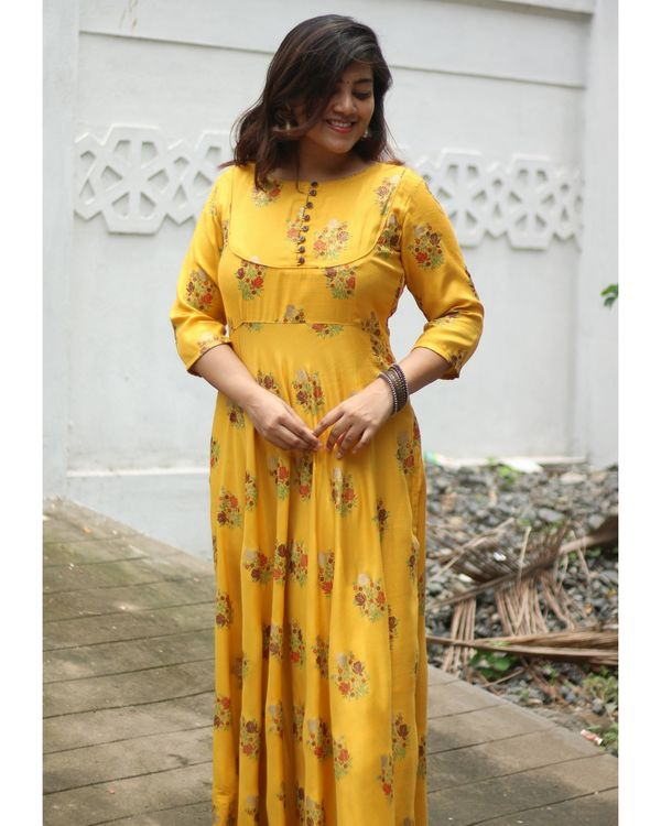 Mustard yellow floral printed yoke dress 2