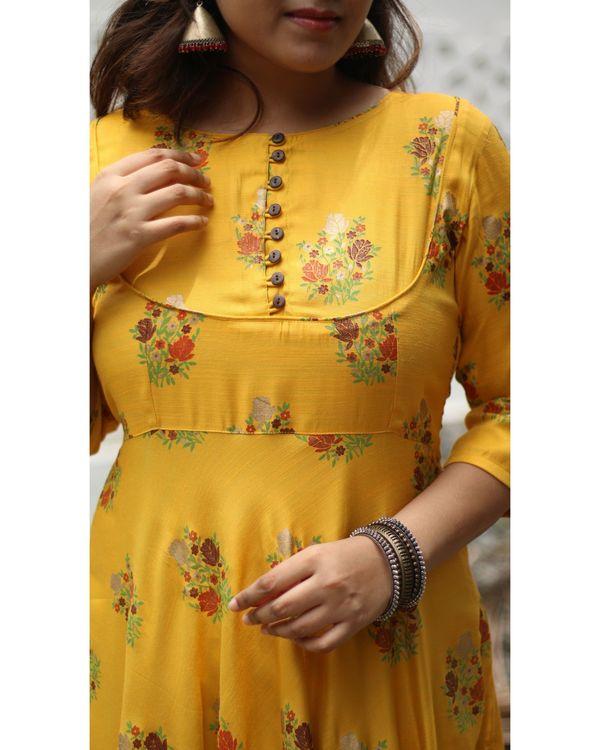 Mustard yellow floral printed yoke dress 1