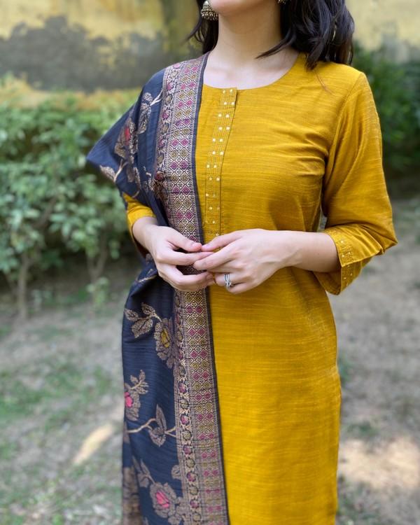 Mustard yellow hand embroidered kurta and pants with dupatta - Set Of Three 1