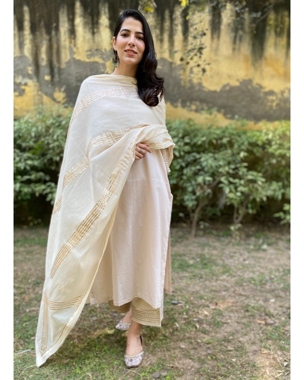 Ivory cotton silk gota kurta and pants with gota work dupatta - Set Of Three 3