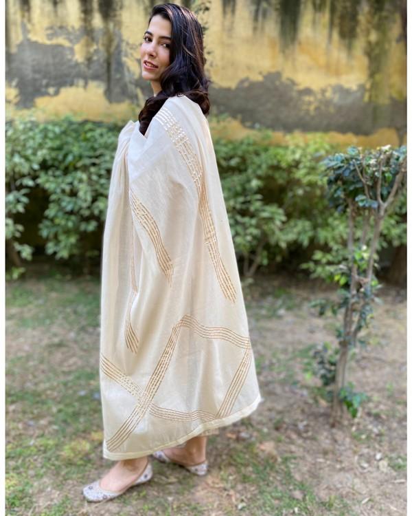Ivory cotton silk gota kurta and pants with gota work dupatta - Set Of Three 2