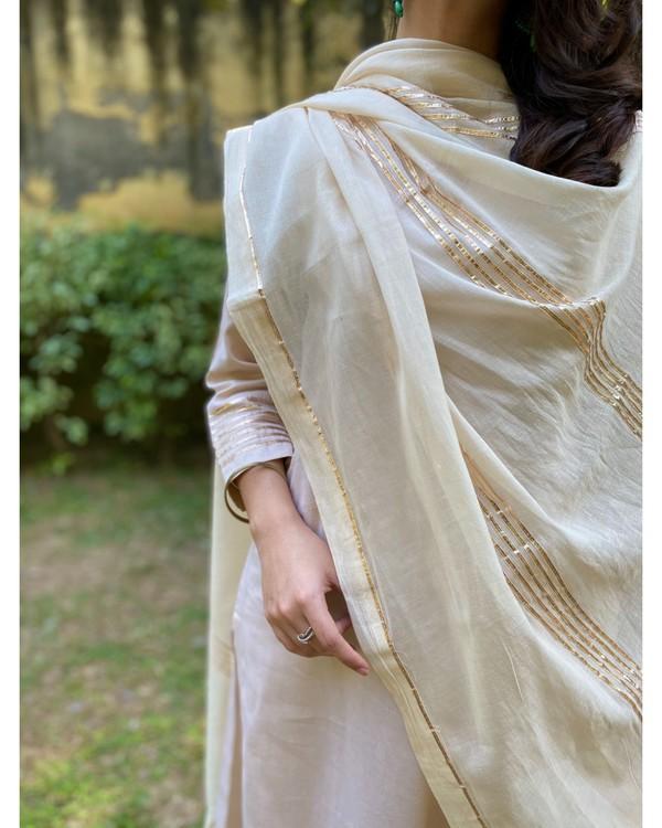 Ivory cotton silk gota kurta and pants with gota work dupatta - Set Of Three 1
