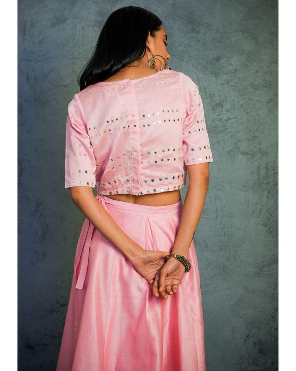 Light pink mirror work lehenga with crop top and dupatta - Set Of Three 3