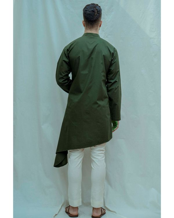 Bottle green buttoned high low kurta with off white pants - Set Of Two 2
