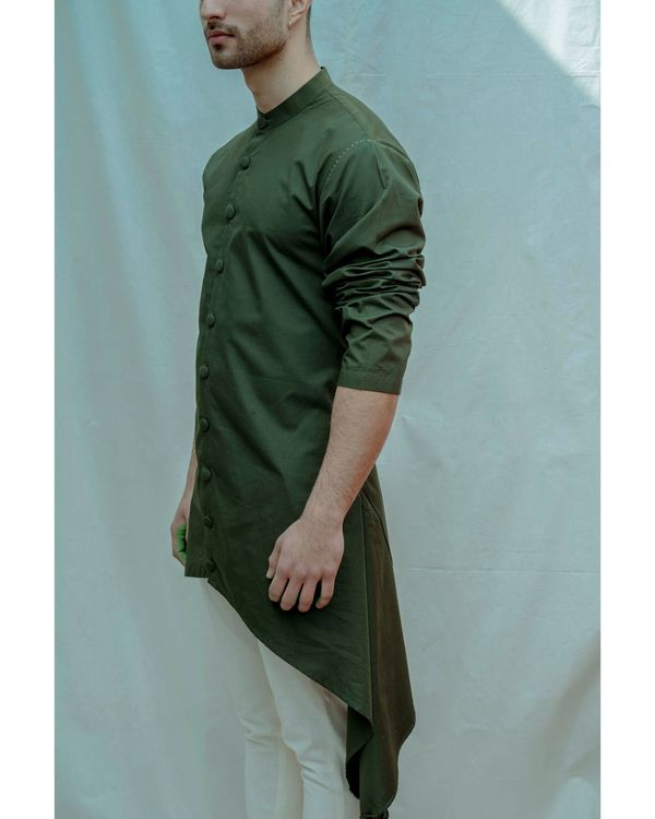 Bottle green buttoned high low kurta with off white pants - Set Of Two 1