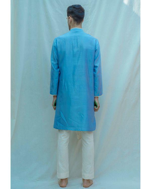 Blue paneled chanderi silk kurta with off white pants - Set Of Two 2